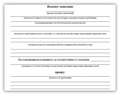 Форма бланка исковое заявление