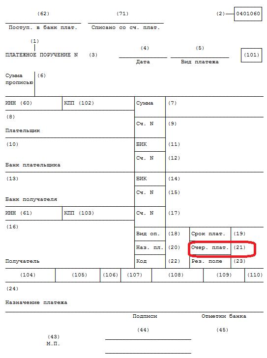 Очередность платежа в платежном поручении в 2019 году